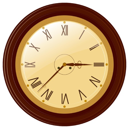 Vector illustration of round clock with Roman numerals Vector