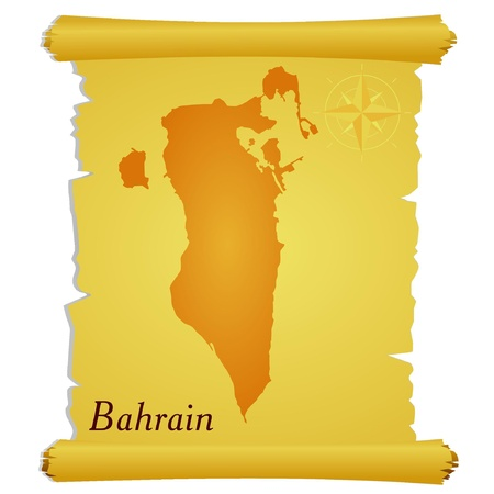 Vector parchment with a silhouette of Bahrain Vector
