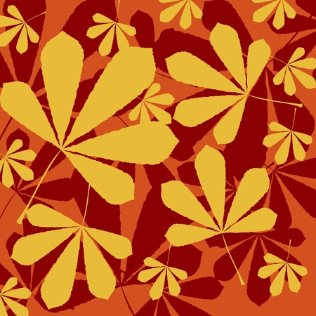autumn background with the leaves of chestnut Vector