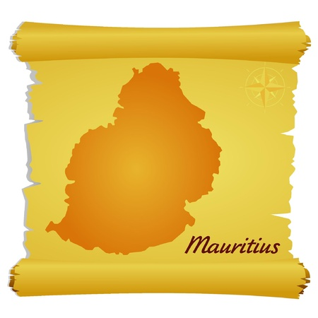 Vector parchment with a silhouette of Mauritius Vector
