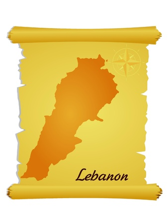 Vector parchment with a silhouette of Lebanon Stock Vector - 11942762
