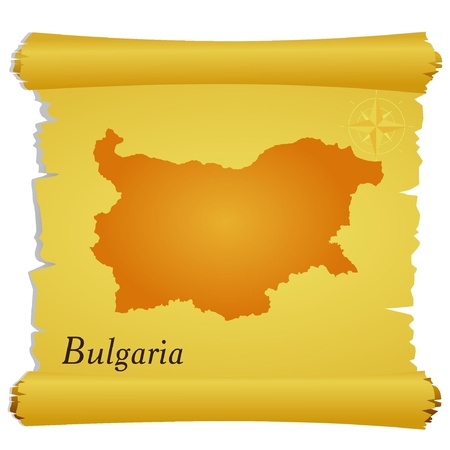 Vector parchment with a silhouette of Bulgaria Vector