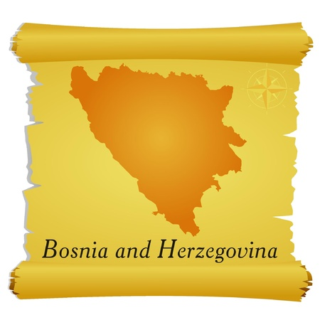 bosnia and herzegovina: Vector parchment with a silhouette of Bosnia and Herzegovina