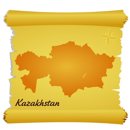 Vector parchment with a silhouette of Kazakhstan