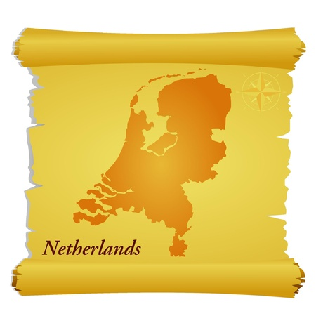 Vector parchment with a silhouette of Netherlands Vector