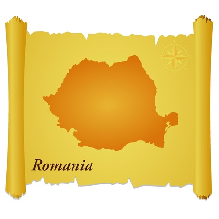 Vector parchment with a silhouette of Romania Vector