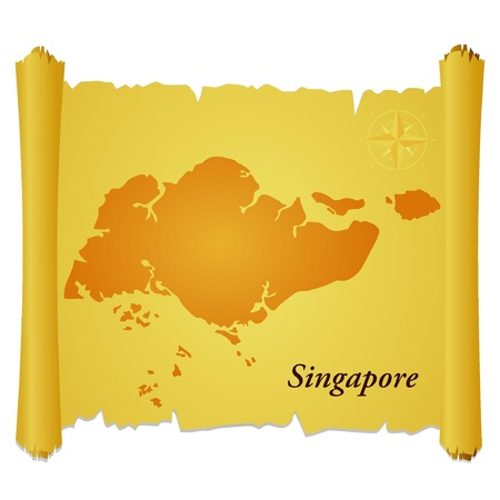 Vector parchment with a silhouette of Singapore Illustration