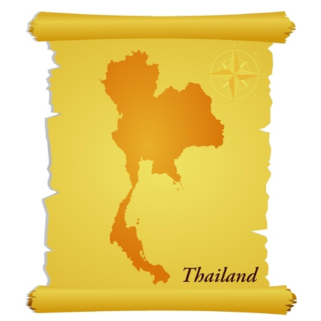 Vector parchment with a silhouette of Thailand Vector