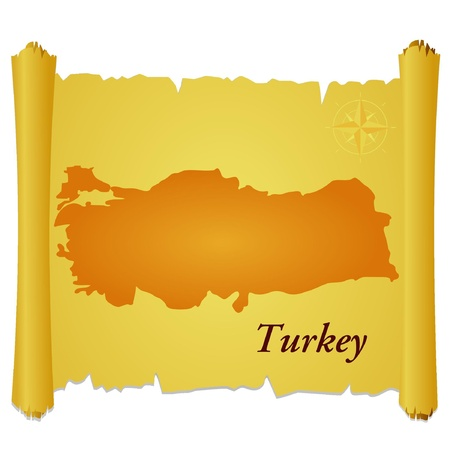 burnt paper: Vector parchment with a silhouette of Turkey