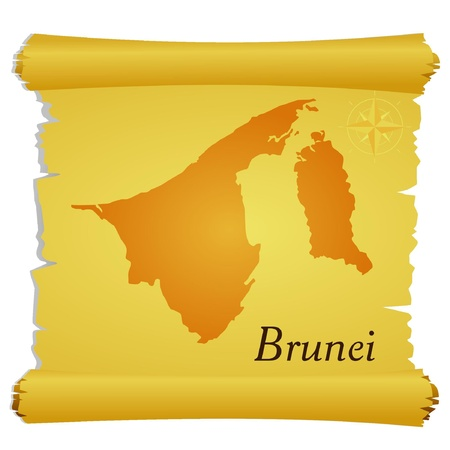 Vector parchment with a silhouette of Brunei Vector
