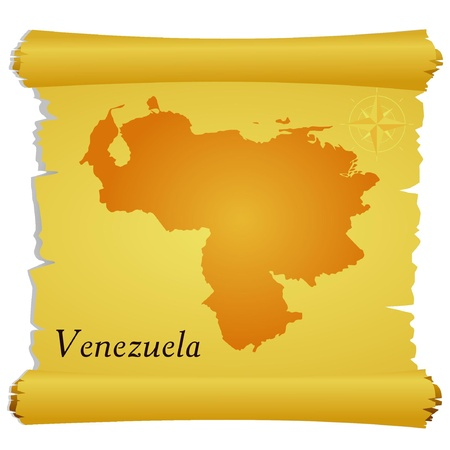 Vector parchment with a silhouette of Venezuela Vector