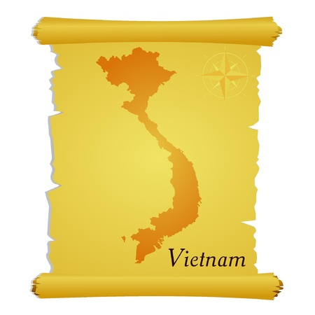 Vector parchment with a silhouette of Vietnam Vector