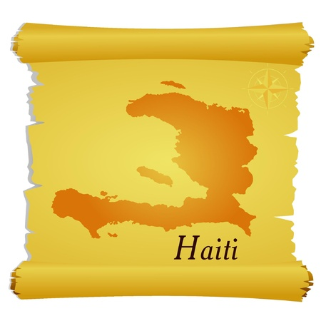 Vector parchment with a silhouette of Haiti Vector