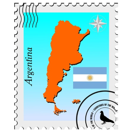 nternet: Vector stamp with the image maps of Argentina