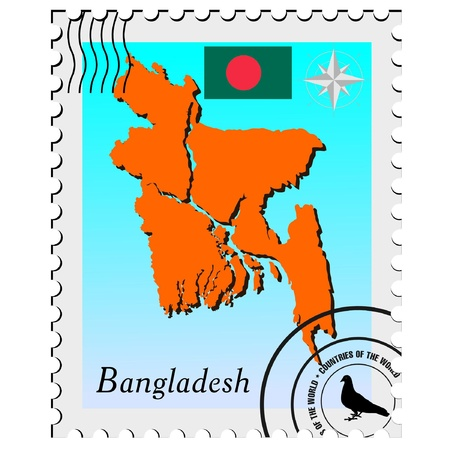 bangladesh: Vector stamp with the image maps of Bangladesh