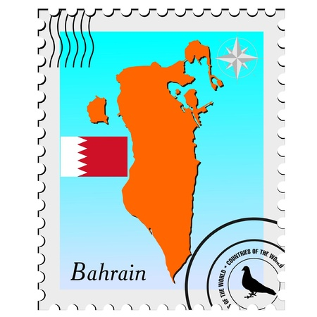 nternet: Vector stamp with the image maps of Bahrain
