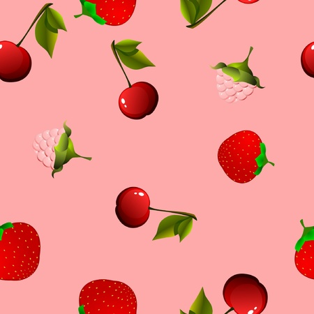 seamless texture with cherry, raspberry and strawberry Vector
