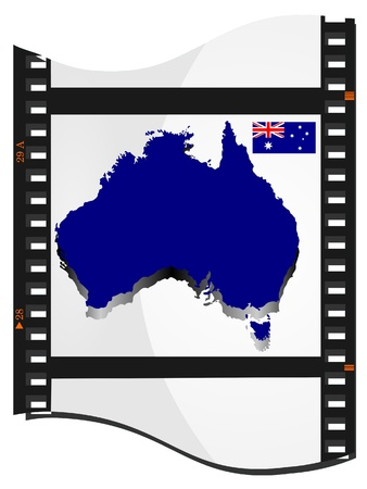 Film shots with a national map of Australia Vector