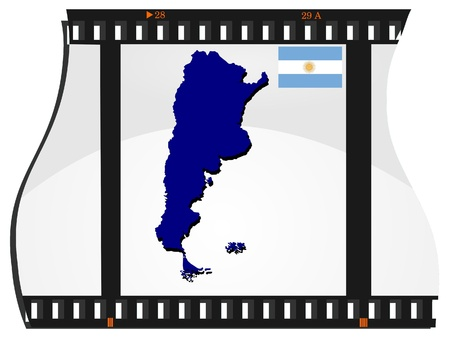 Film shots with a national map of  Argentina Vector
