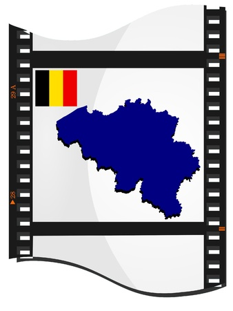 Vector image footage with a map of Belgium  Vector