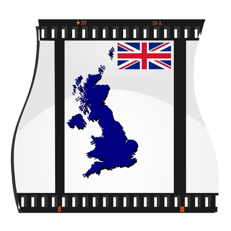 Vector image footage with a map of Britain Vector