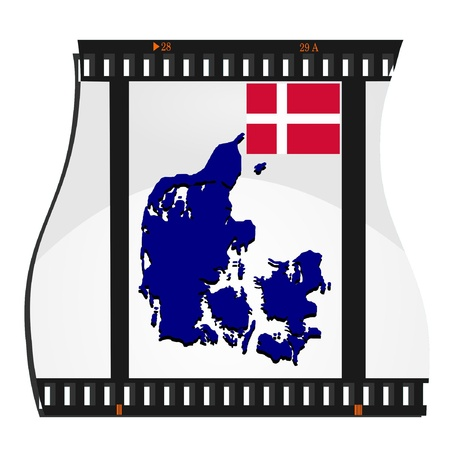 Vector image footage with a map of Denmark Vector