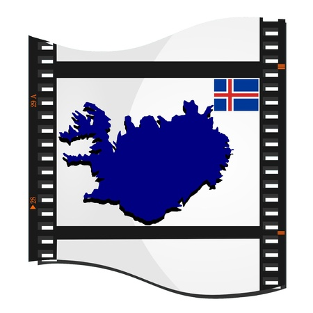 Vector image footage with a map of Iceland Vector