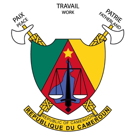 tricolors: vector image of the national coat of arms of Cameroon Illustration