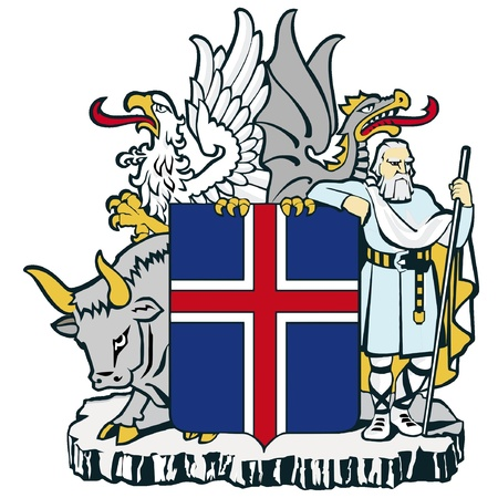 coats: vector image of the national coat of arms of Iceland Illustration