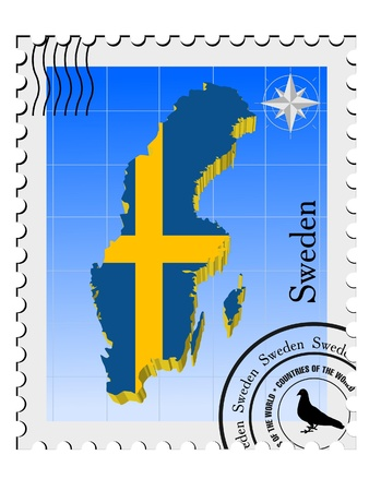 Vector stamp with the image maps of Sweden Stock Vector - 11942940