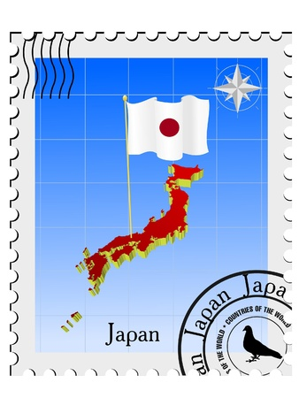 nternet: Vector stamp with the image maps of Japan