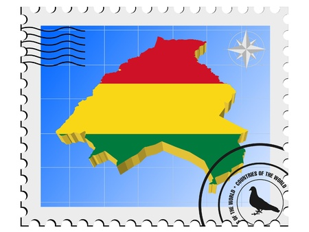 nternet: Vector stamp with the image maps of Bolivia