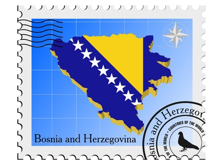nternet: Vector stamp with the image maps of Bosnia and Herzegovina