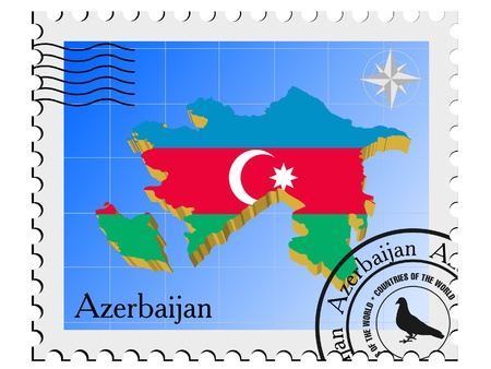 nternet: Vector stamp with the image maps of Azerbaijan Illustration