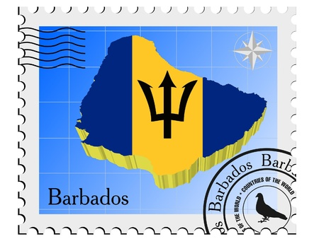 nternet: Vector stamp with the image maps of Barbados