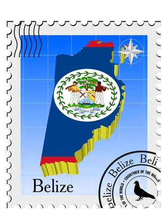 nternet: Vector stamp with the image maps of Belize Illustration