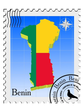nternet: Vector stamp with the image maps of Benin Illustration