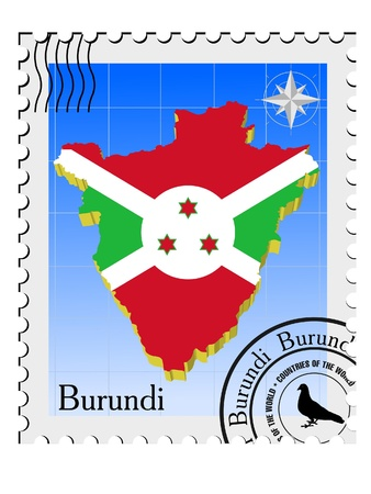 Vector stamp with the image maps of Burundi Vector