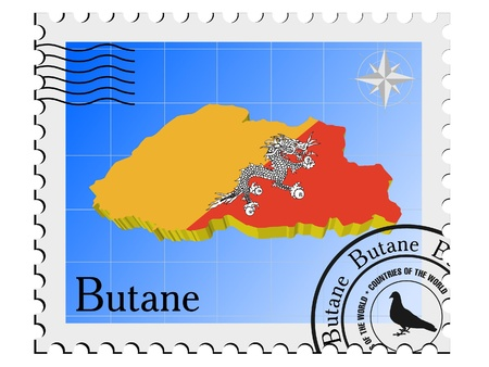 butane: Vector stamp with the image maps of Butane Illustration