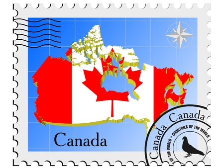 canada stamp: Vector stamp with the image maps of Canada