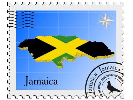 Vector stamp with the image maps of Jamaica Vector