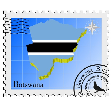 nternet: Vector stamp with the image maps of Botswana