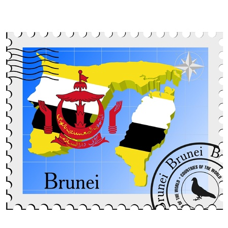 nternet: Vector stamp with the image maps of Brunei Illustration