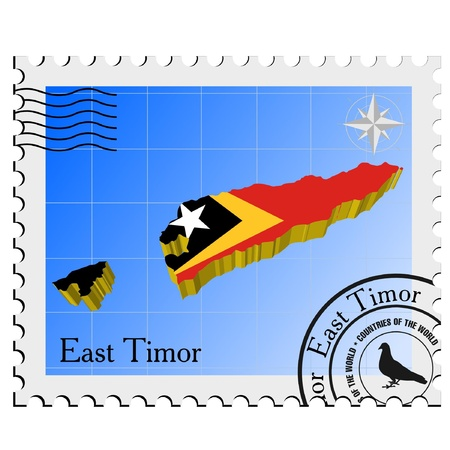 nternet: Vector stamp with the image maps of East Timor Illustration