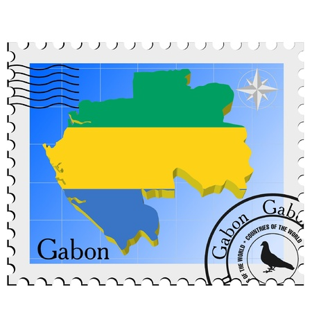 nternet: Vector stamp with the image maps of Gabon Illustration