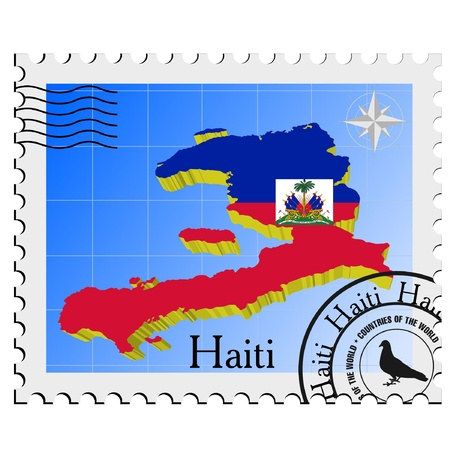 nternet: Vector stamp with the image maps of Haiti Illustration
