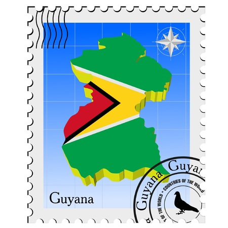 nternet: Vector stamp with the image maps of Guyana Illustration