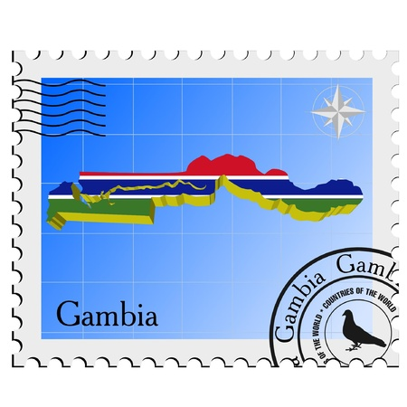 nternet: Vector stamp with the image maps of Gambia