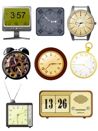 zeichnung: Collection of vector illustrations clock