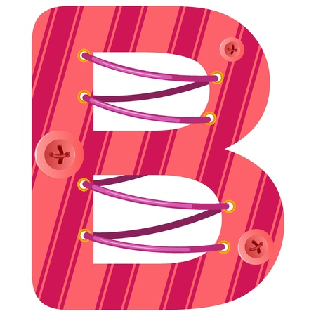 Vector illustration of the letter B with buttons and thread. EPS10 Vector